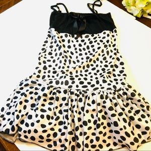 Dalmatian stretchy sexy costume w tulle skirt L